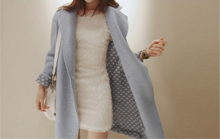 2015 new winter long coat women slim overcoat fashion Turn-down collar long sleeve thick light blue wool coat(China (Mainland))