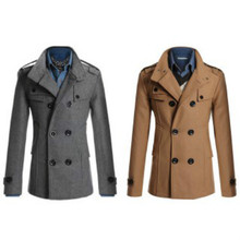 Free Shipping High Quality Warm Men Casual Trench Thicker Wool Slim Double Breasted Long Jacket Slim Trench Windbreaker Coat(China (Mainland))