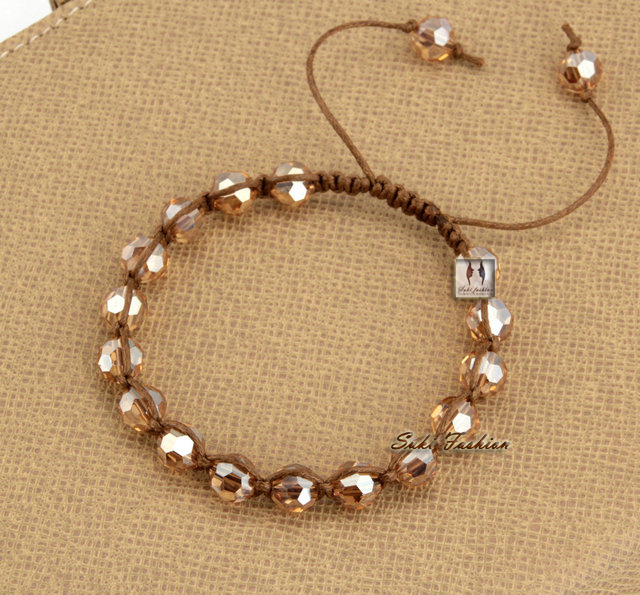 New Trendy Bling Crystal Slide Braided Bracelet Beads Bracelet Cristal Bracelet Crystal Jewelry for Sale(China (Mainland))