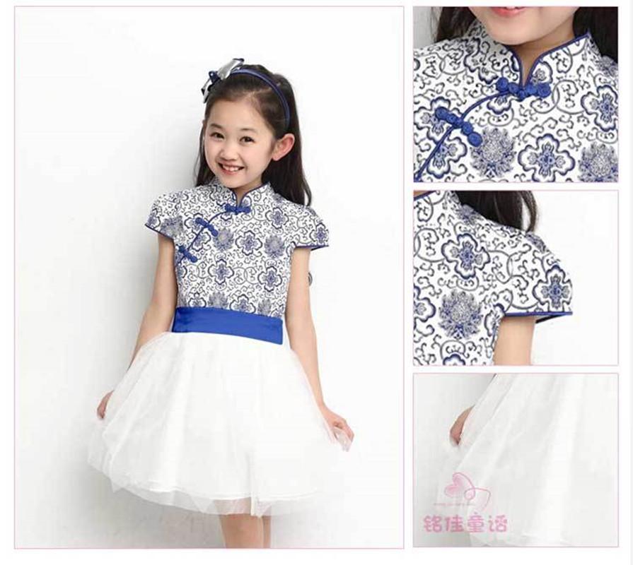 2016 Girls Summer Dress Children Dress Princess Dress Foreign Trade Short-sleeved Girls Clothes Chinese Style Cheongsam(China (Mainland))