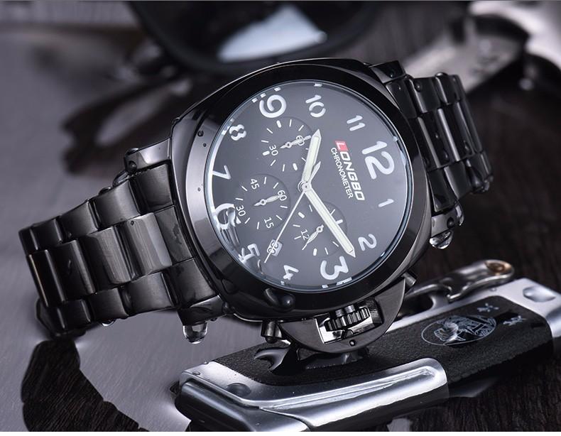 LONGBO Luxury Brand Военная Нержавеющей Стали Кожа Кварцевые Часы Мужчины Многофункциональный Дата Календарь Водонепроницаемые Наручные Часы 80180