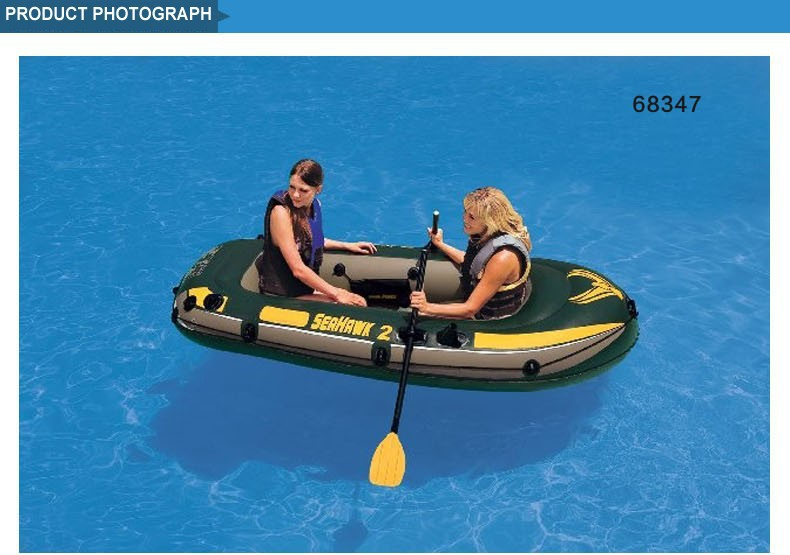 Intex Seahawk inflatable boats 2 person fishing boat 236*114*41cm, a pair of oars, hand pump included(China (Mainland))