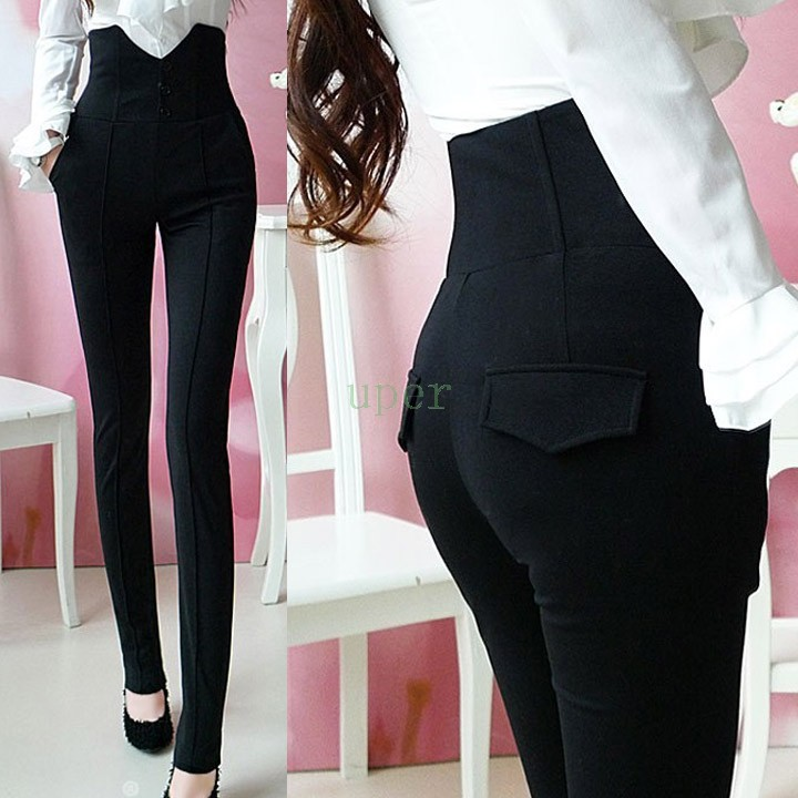 Women High Waist Pants Women Trousers 2015 Long Slim Formal Trousers OL Pants Vintage Slim Joggers Hot Women Pants(China (Mainland))