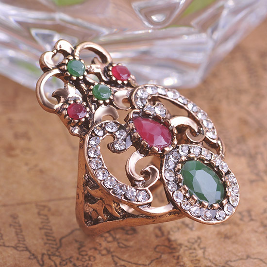 Classic Turkish Resin Emerald Ruby Aneis Womans Finger Ring O Bijuterias Christmas Present Costume Party Jewelry