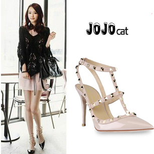Women High heels shoes woman Ladies Sexy Pointed Toe High Heels Fashion Buckle Studded Stiletto High Heel Shoes pumps(China (Mainland))