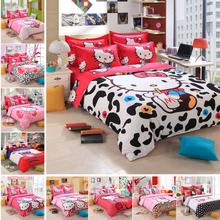 Hello Kitty Queen Size Bedding Comforter Set Barcelona Kids Anime Bed Sheets Linens Designer Brand Bedding Sets Girls Bedclothes(China (Mainland))