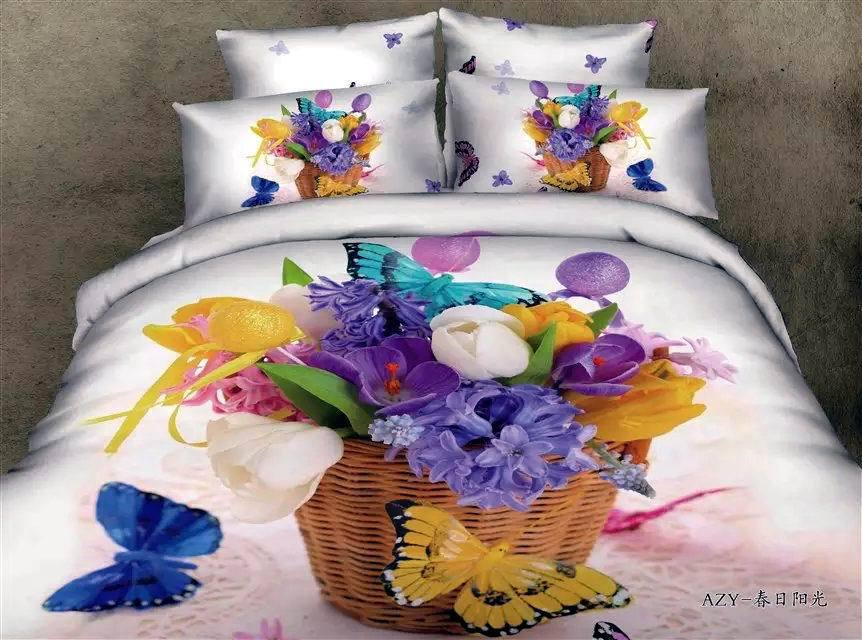 3D Queen size butterfly bedding set Blue purple floral sheets quilt duvet cover bed brand bedspread bedroom linen 100% cotton(China (Mainland))
