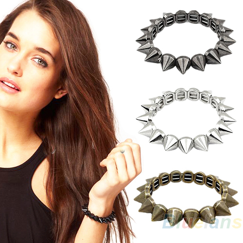 Retro Rock Punk Europe and the United States jewelry spikes rivet bracelet British Elastic Stretch Bracelet 0AKV(China (Mainland))