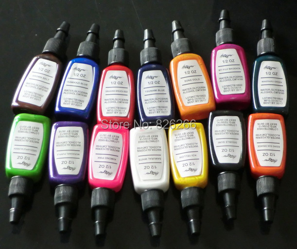 14Colors Tattoo Ink Pigment  2015 hot sale 15ml 1/2 oz  Tattoo Inks Pigment Complete Set  tattoo machine inks Pigment <br><br>Aliexpress