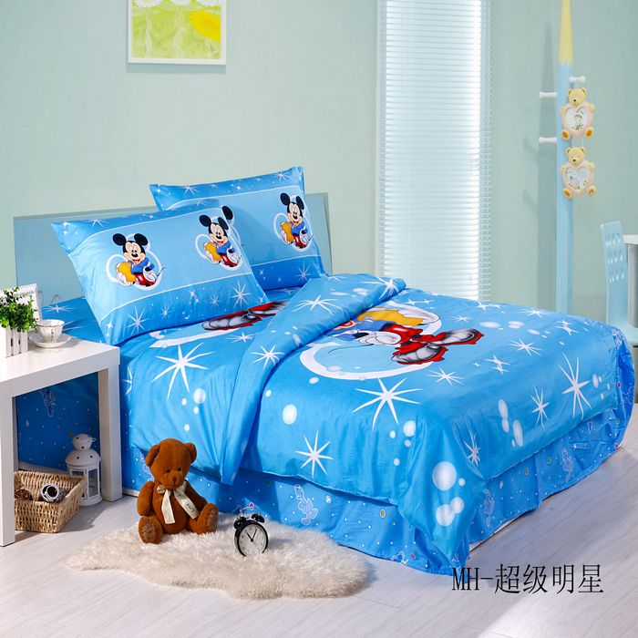 3/4/5Piece Happy Super Star Blue Mickey Mouse Comforter Duvet Covers bedding set Twin Flat Sheet & Pillow Sham Bed In A Bag(China (Mainland))