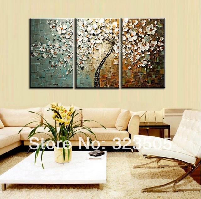 3 Piece Purple Cherry Blossom Muti Panel Abstract Modern: 3 Piece Canvas Wall Art Modern Abstract Decorative Wall