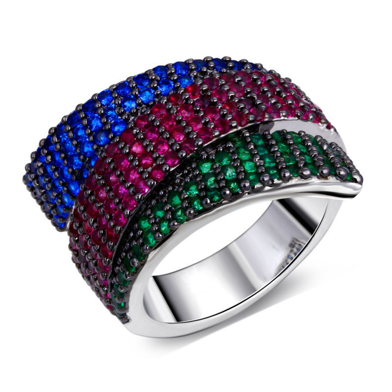 New Ribbon Look Spring Colors Women Cocktails Rings CZ Pave Setting Montana & Siam & Emerald Cubic Zirconia Real White 18K Gold(China (Mainland))