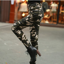 New Summer Army Fashion Women Pants Female Casual Military Denim Trousers Tight Elastic High Waist Camouflage Pencil Pants Women