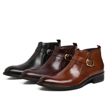 Fashion black / brown / wine red mens ankle boots business shoes genuine leather dress boots mens wedding shoes with buckle(China (Mainland))