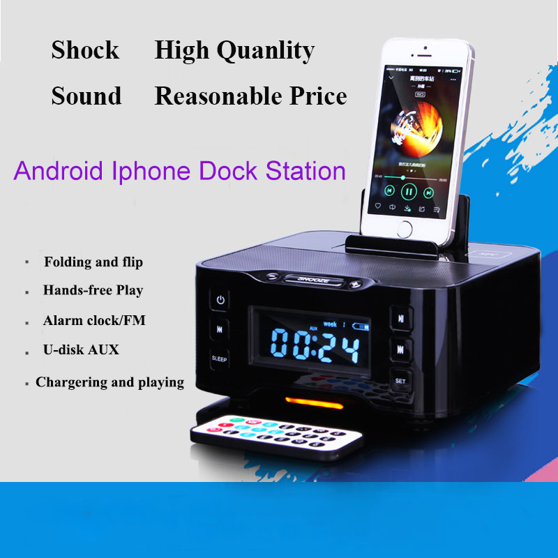 A9 Bluetooth Dock station for Apple iPhone 6 dock speaker /Android charger play FM Alarm Clock Lighting interface(China (Mainland))