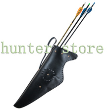 1 archery arrow quiver 1 bow bag case durable black composite leather for adult archery hunting