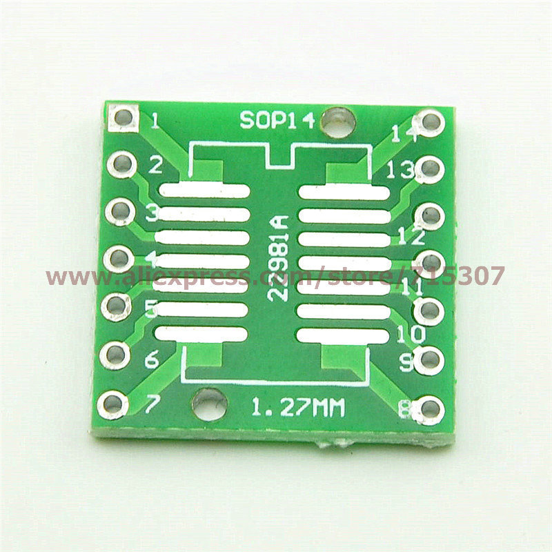 20pcs adapter board SOP14/ SSOP14/ TSSOP14 (smd to dip) 0.65/ 1.27mm pitch(China (Mainland))
