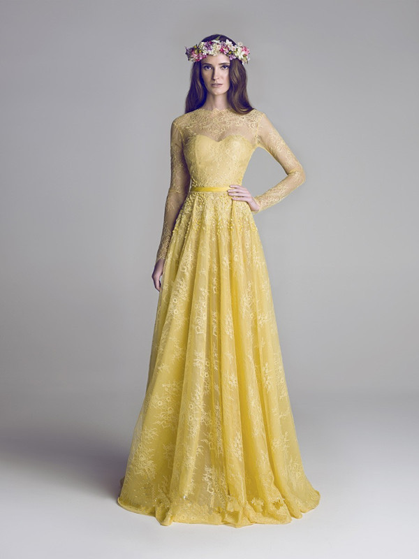 2015 Modest Yellow Sheer Long Sleeves Evening Gowns Custome Made O-neck Floor Length Lace Dress Backless Formal Evening Gown(China (Mainland))