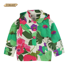 1PC Spring Autumn Children's Clothing Kids Outerwear Fashion Brand Baby Girls Flower Printing Trench Coat With Hood Girls Jacket