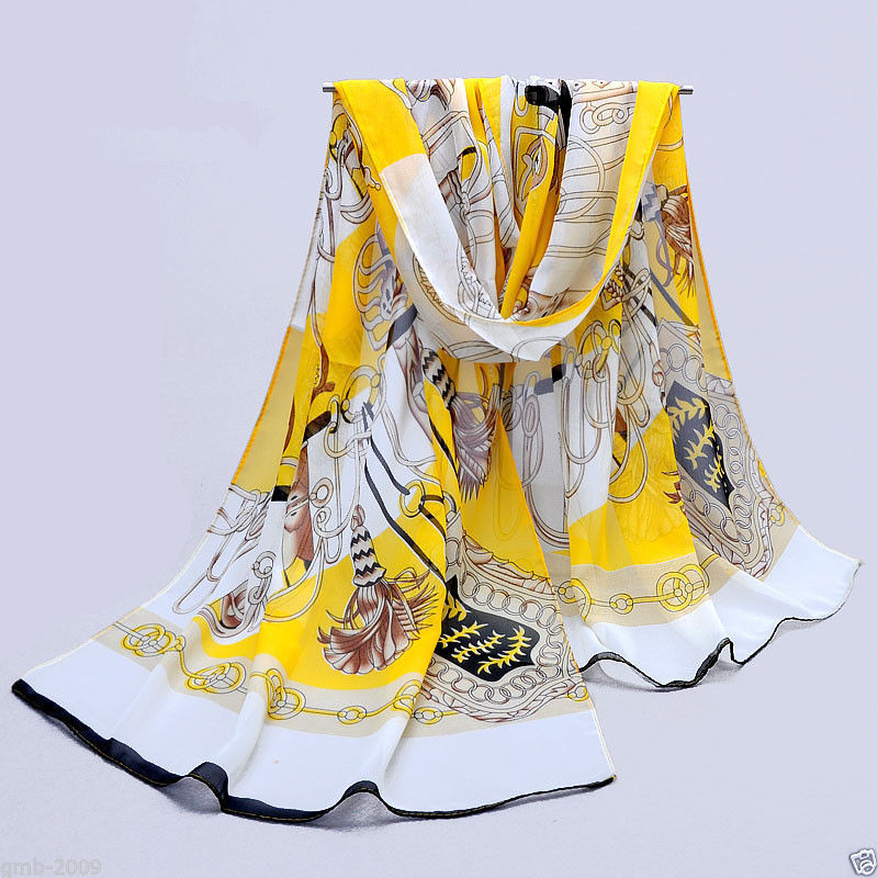 New Fashion Women's Chiffon Long Soft Link Paisley Silk Stole Wrap Scarf Yellow(China (Mainland))
