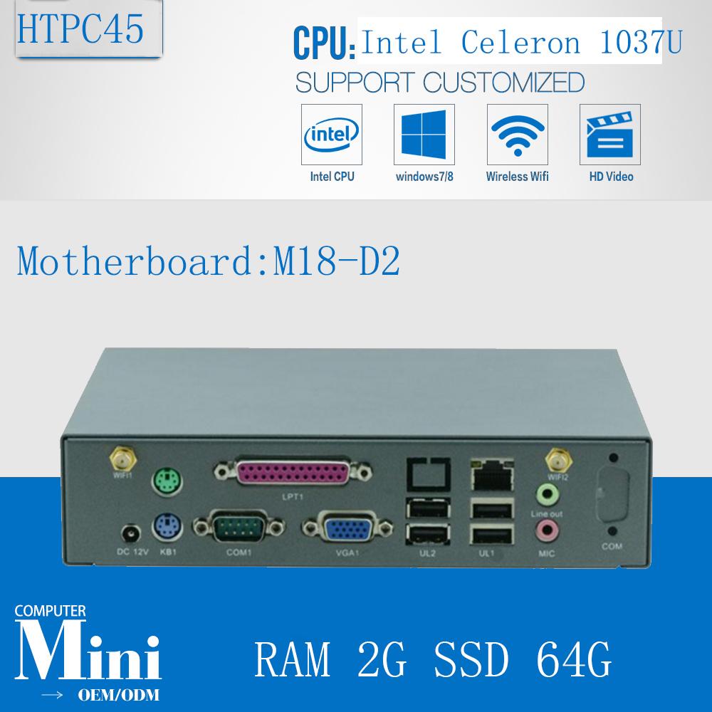 2016 Newest Intel Celeron 1037u Dual Core Windows XP Mini PC 12V with RAM 2G SSD 64G(China (Mainland))