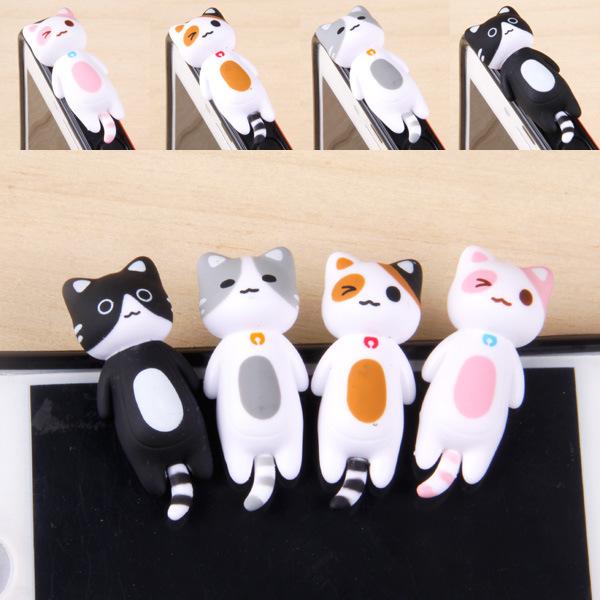 Free Shipping 4 Designs Lying Cat Dust Plug for Iphone Earphone Jack Plug Earphone Cap Wholesale(China (Mainland))