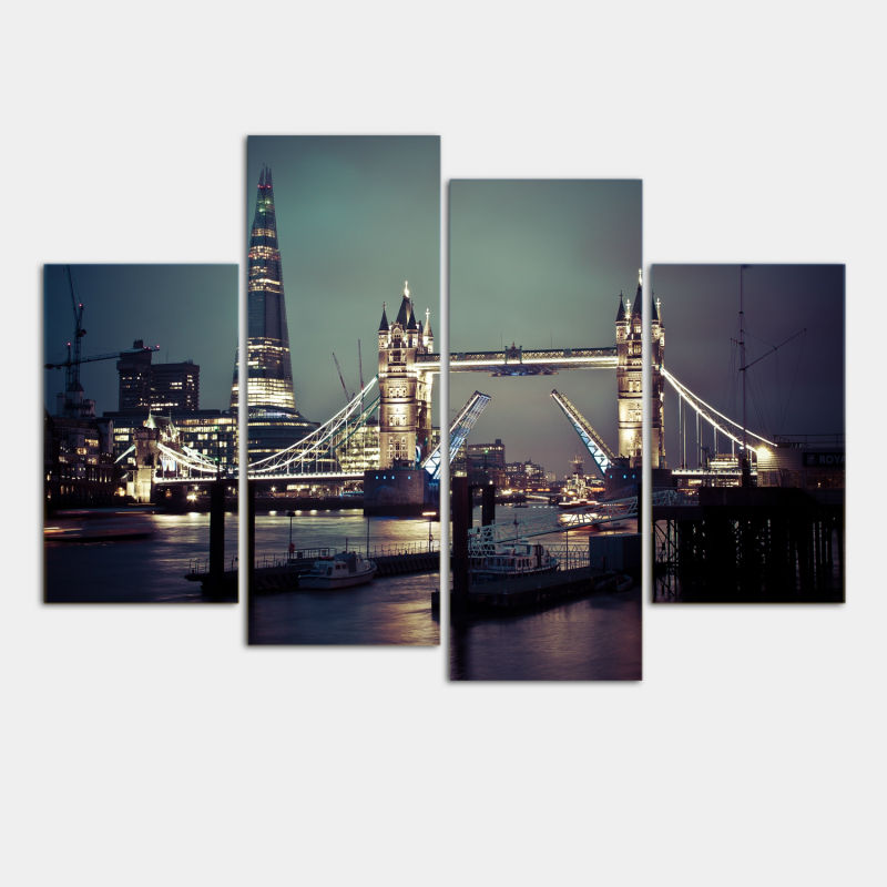 4 Pcs Modular pictures London Night Wall Art Picture Modern Home Decoration Canvas Print Painting Wall picture GvZ299(China (Mainland))