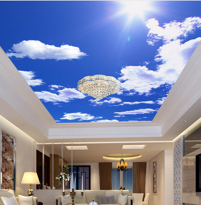 Custom Ceiling Wallpaper Blue Sky And White Clouds For The Living Room Bedroom Room Ceiling