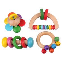 Kind Baby Holz Glocke Rassel Spielzeug Handbell Musical Bildungs Instrument Kleinkinder Rasseln Griff Entwicklungsspielzeug Großhandel(China (Mainland))