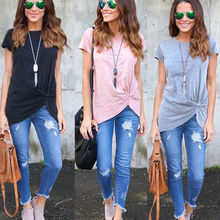 Buy New Fashion Women Summer Short Sleeve Top Casual Tops T-Shirts Solid Cotton Clothing Ladies Casual Clothes for $5.67 in AliExpress store