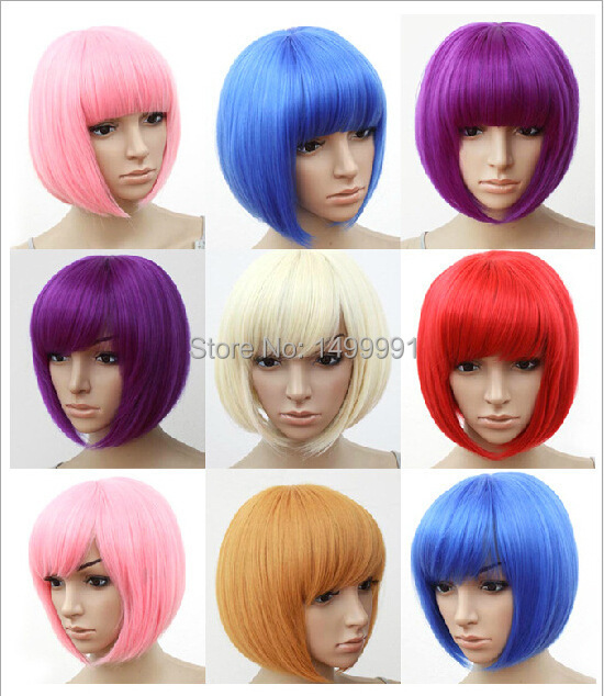 New arrival cheap Synthetic cosplay wigs short straight hair bob wigs pink purple red wigs free shipping(China (Mainland))