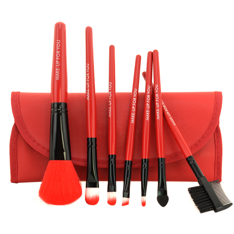 Free Shipping 7 pcs Professional Cosmetics Makeup Brush Set Make-up Toiletry Kit Wool Brand Make Up Brush Set Case free shipping(China (Mainland))
