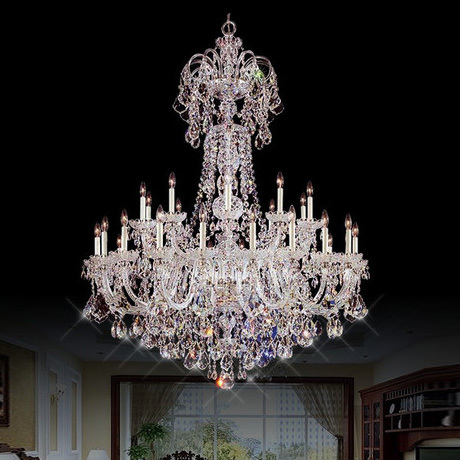Church 30 arms led lampada large crystal chandelier castle hotel modern long big candle holders chandeliers project hanging Lamp(China (Mainland))