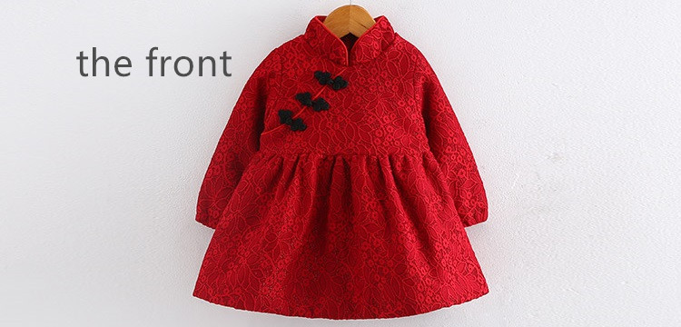 Moon Morning Kids Dresses 2T~10T Chinese Style Red China New Year Children Shirts Longo Mandarin Collar Woven 7 Autumn Garment