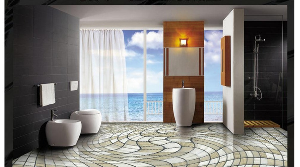 3d wallpaper custom 3d flooring mural wallpaper beauty for Bathroom mural wallpaper