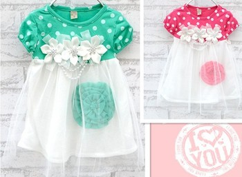Retial new Gauze dress Flowers gril dresses String of pearls diamond Bow dress for girl dress