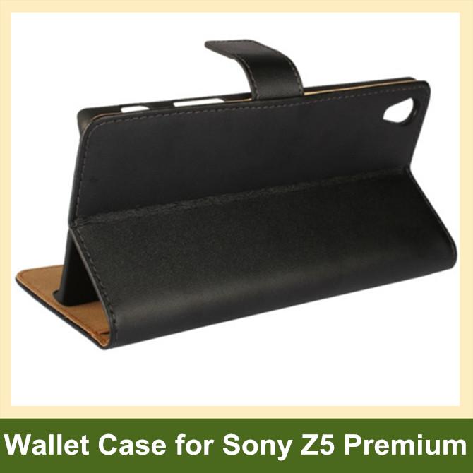 Elegant Genuine Leaher Wallet Flip Cover Case for Sony Xperia Z5 Premium/Z5 Plus/E6853 with Card Slot Holder 10pcs/lot Drop Ship