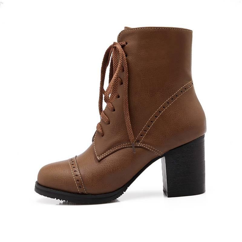 ซื้อ พลัสSize34-43 2016แฟชั่นใหม่ผู้หญิงฤดูใบไม้ร่วงขี่บู๊ทส์3สีหนาสูงปั๊มลูกไม้ขึ้นในช่วงฤดูหนาวหิมะรองเท้าSBT1968