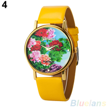 Woman watches Rural Peony Flowers Printed Faux Leather Round Dial Analog Quartz WristWatches 28F7