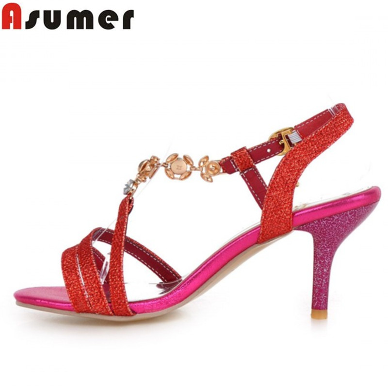 Plus size 34-46 Hot high heels women sandals open toe gold red silver sexy buckle rhinestone lady summer wedding shoes woman