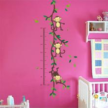 150cm Cartoon tree Monky children baby height growth chart measure wall stickers for kids room nursery decal birthday gift(China (Mainland))