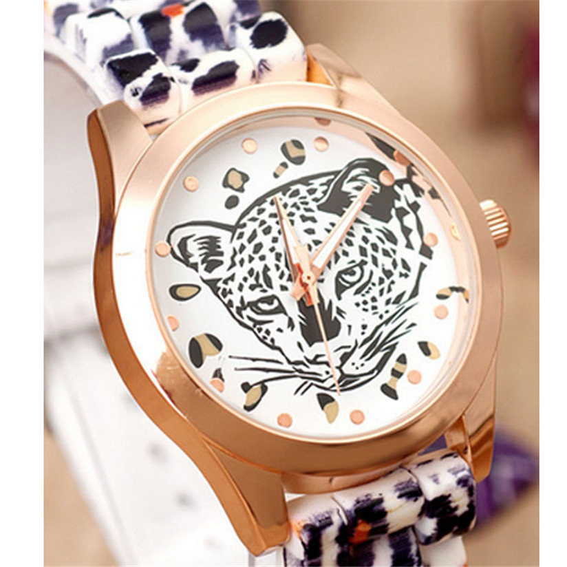 Hot Marketing Vogue Design Women Leopard Head Watch Leopard Silicone Fashion Watch WJul5(China (Mainland))