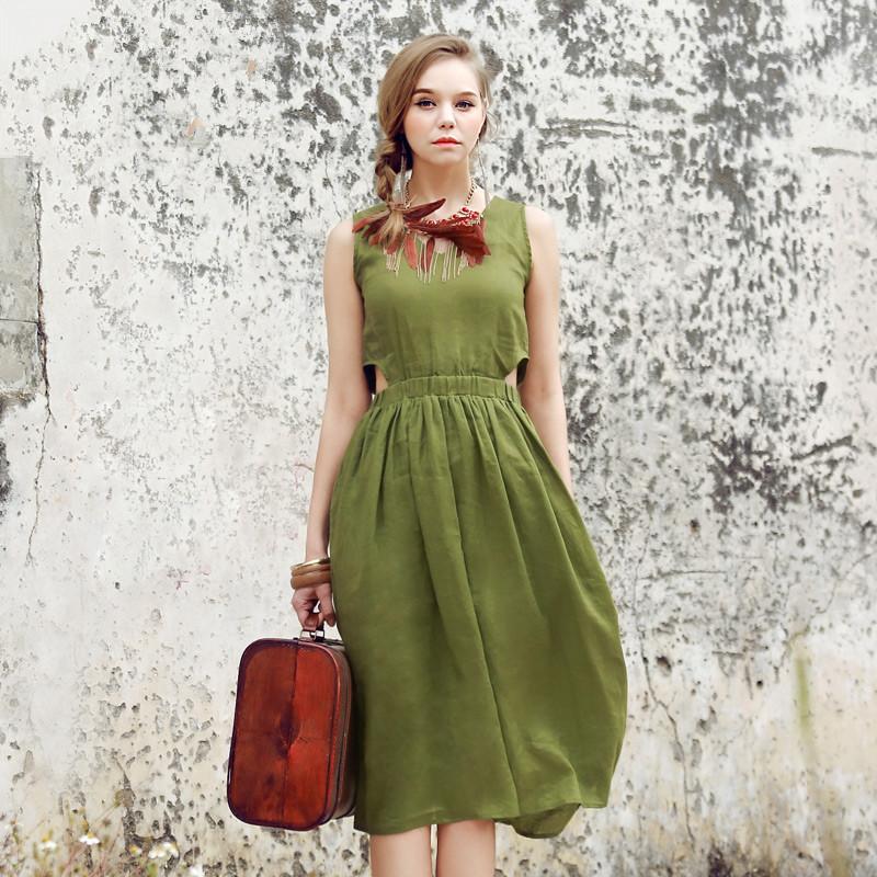 BOHOCHIC Women's Original Design Bohemian European And American England Fashion Style V Neck Slim Linen Dress YT0002X Boho Chic