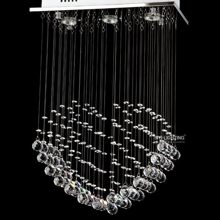 Moderno 3 led lampadine l45 * w20 * h65cm lampadario di cristallo a ...