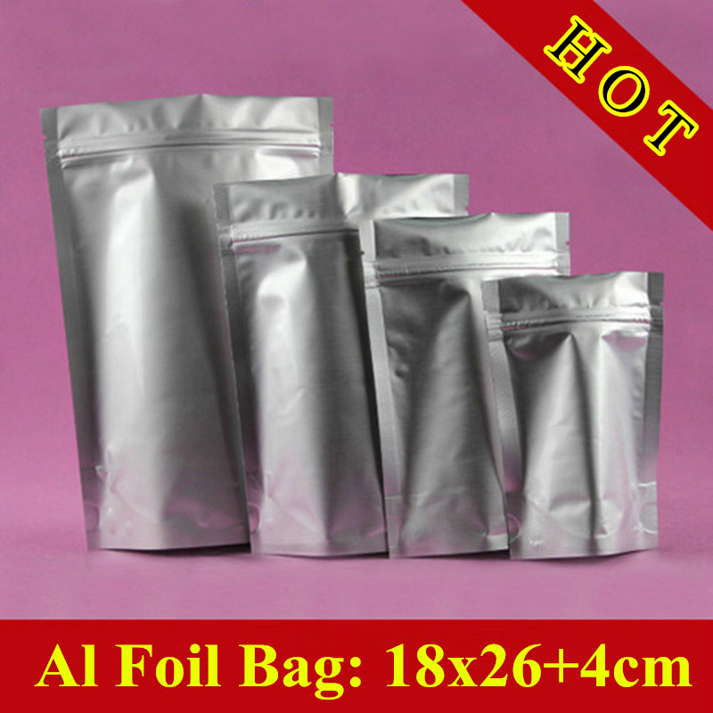100pcs/lot 18cm*26cm+4cm(Bottom) 240mic Aluminum Foil Bag,Stand up Zip LockBag,Snack Bags,Tea Storage Bags(China (Mainland))