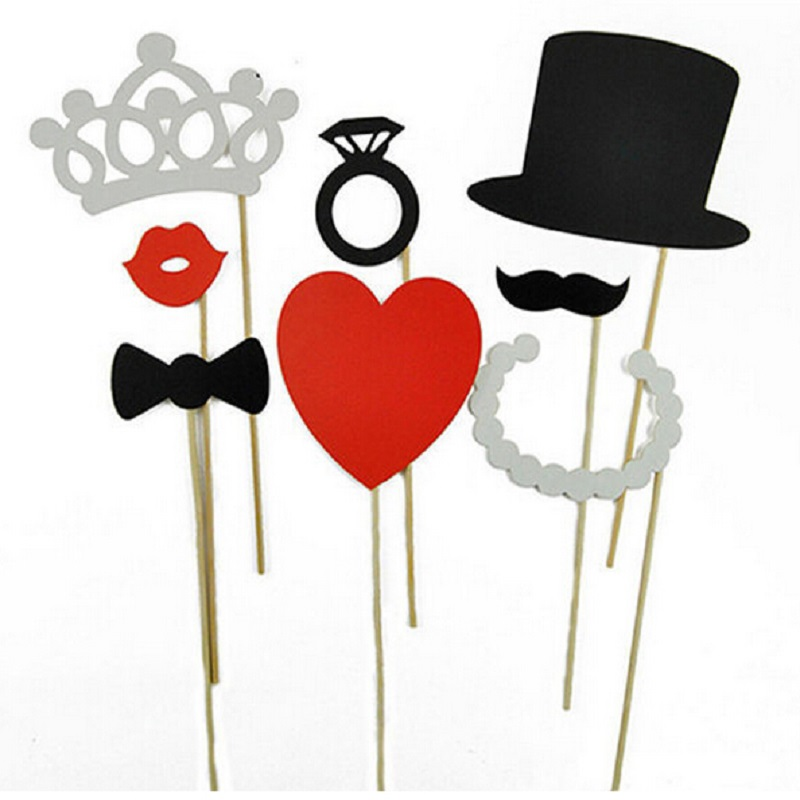 Photo Booth Props 8Pcs DIY Hat Crown Mustache Lip Ring Heart Crown Stick Lovely Party WeddingDecoration Festive & Party Supplies(China (Mainland))