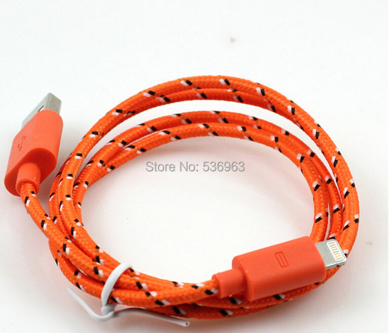 3 ft/1meter Cable for iphone5 Fabric Braided Wire USB Charger Data Sync Cloth Nylon Woven Cord for iPhone 6 5 5S 5C iOS8 iPad