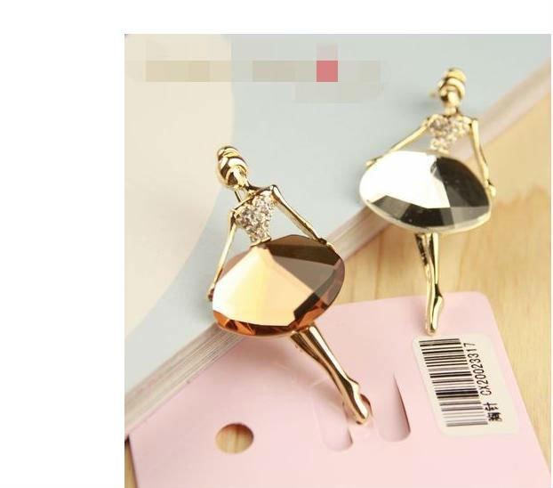 Summer Style Fashion Rhinestone Ballerina Brooch Elegan Brooches Women G2R3C - Dreamland Jewelry Store store
