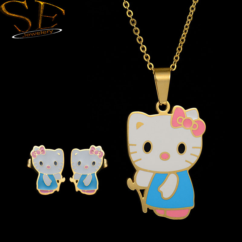 Cute hello kitty cat Pendant Necklace Earrings Stainless Steel Jewelry Set 18K Gold Plated for women girl child Birthday Gifts(China (Mainland))