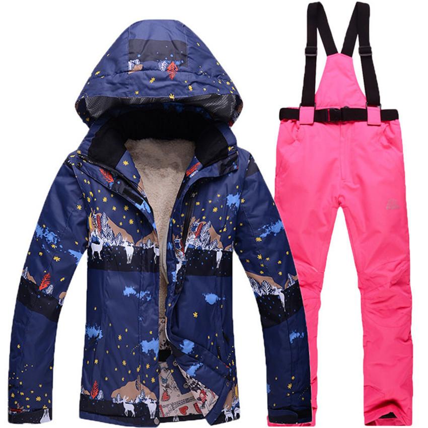 Фотография 2016 free shipping high quality ski suits fashion women windproof waterproof winter warm skiing jackets and pants women